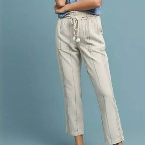 Anthropologie XS White Blue Linen Crop Pants